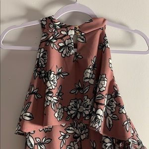3X Floral Dress with Shoulder Cut Outs